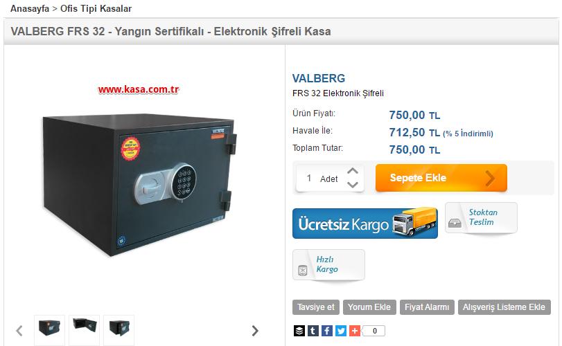 VALBERG FRS 32 Çelik Kasa Fiyatı
